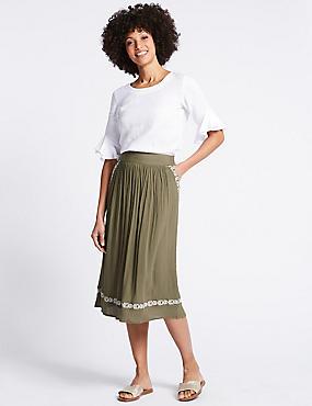 Embellished Hem Full Midi Skirt , KHAKI, catlanding