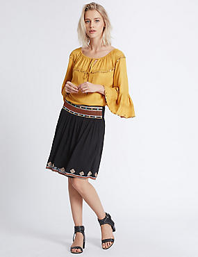 Mirror Embroidered Skater Skirt