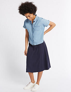 Pure Cotton A-Line Midi Skirt