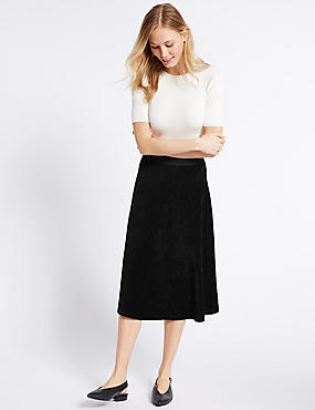 Cotton Rich Cord Flippy A-Line Midi Skirt