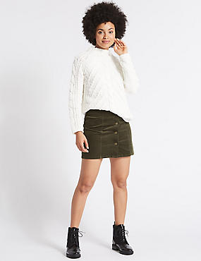 Cotton Rich Cord A-Line Mini Skirt