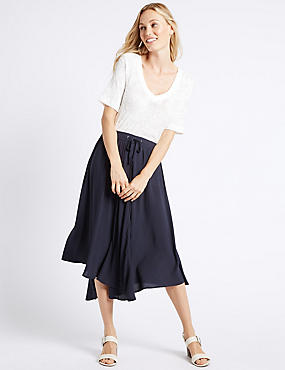 Flared Asymmetrical Midi skirt