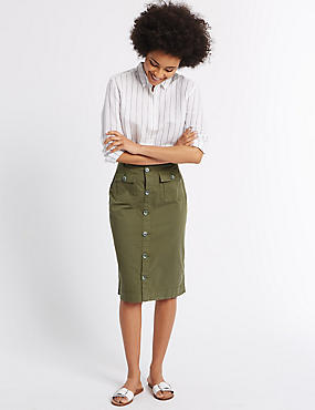 Sateen Pocket Detail Midi Skirt