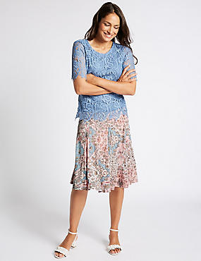 Cotton Rich Floral Print A-Line Midi Skirt