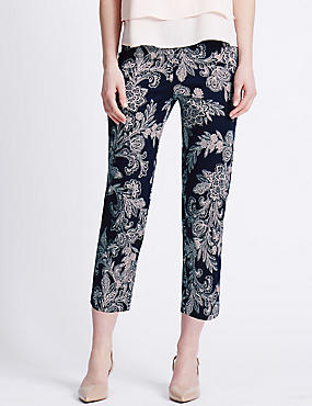 Cotton Rich Paisley Print Cropped Slim Leg Trousers