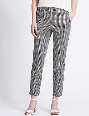 Cotton Rich Geometric Print 7/8 Trousers