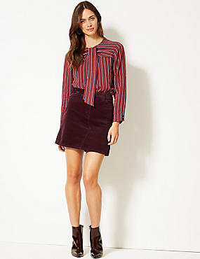 Corduroy A-Line Mini Skirt , DARK GRAPE, catlanding