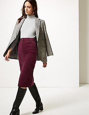 Cotton Rich Textured Pencil Midi Skirt , BURGUNDY, catlanding