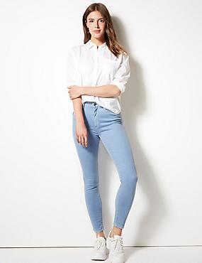 Mid Rise Super Skinny Jeans, PERIWINKLE, catlanding