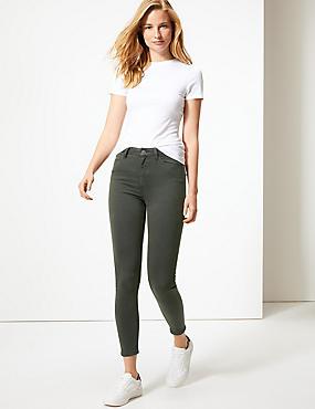 Mid Rise Super Skinny Jeans, DARK KHAKI, catlanding