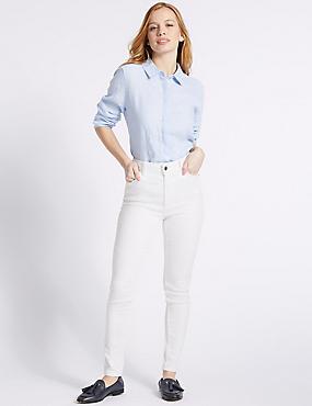 PETITE Mid Rise Super Skinny Jeans, SOFT WHITE, catlanding