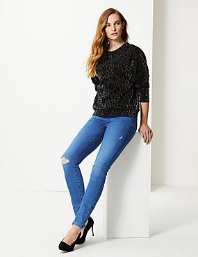 Mid Rise Super Skinny Leg Jeans, MEDIUM BLUE, catlanding