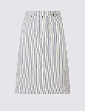 Pure Cotton Striped Pencil Skirt