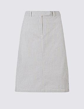 Pure Cotton Striped Pencil Skirt , NAVY MIX, catlanding