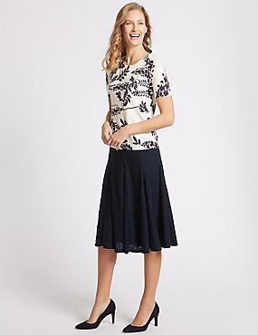 Textured A-Line Midi Skirt , NAVY, catlanding
