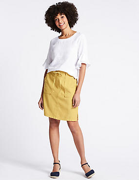 Linen Rich Elasticated Waist Mini Skirt, ANTIQUE GOLD, catlanding