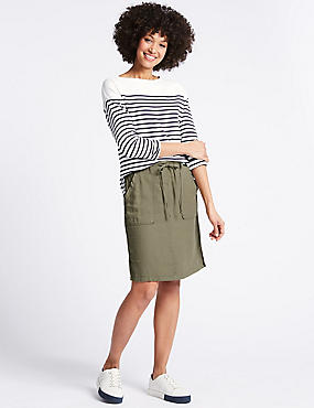 Linen Rich Elasticated Waist Mini Skirt, KHAKI, catlanding