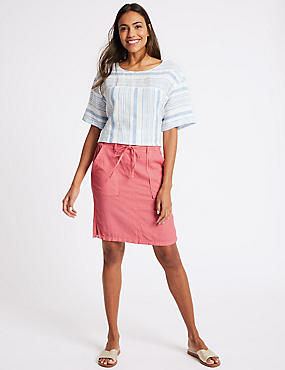 Linen Rich Patch Pocket Pencil Midi Skirt