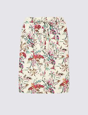 Linen Rich Floral Print Pencil Skirt , IVORY MIX, catlanding