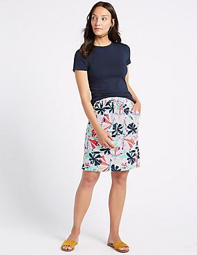 Linen Rich Floral Print Pencil Skirt , MULTI, catlanding