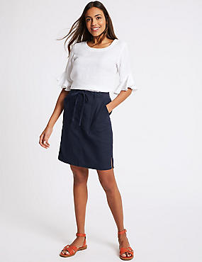 Linen Rich Elasticated Waist Mini Skirt, NAVY, catlanding