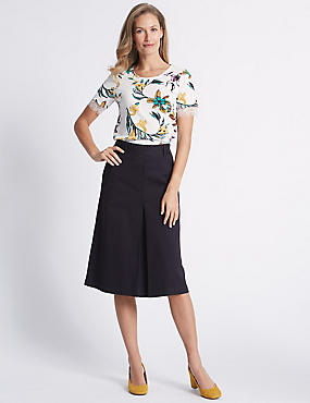 Cotton Rich Pleated Midi Skirt , NAVY, catlanding