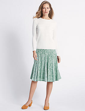 Cotton Rich Floral Lace A-Line Midi Skirt, GREEN MIX, catlanding