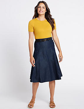 Denim Belted A-Line Midi Skirt