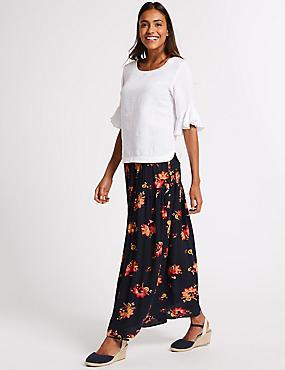 Floral Print Crinkle Full Maxi Skirt , NAVY MIX, catlanding