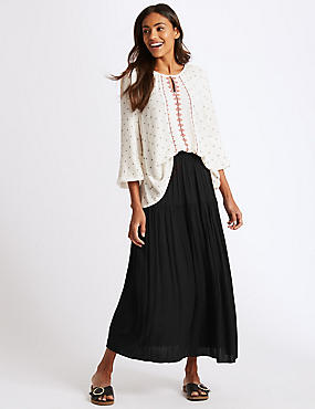 Crinkle Full Maxi Skirt , BLACK, catlanding