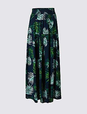 Leaf Print Maxi Skirt , NAVY MIX, catlanding