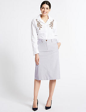 Cotton Rich Striped Pencil Skirt, NAVY MIX, catlanding