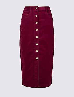 Cotton Rich Textured Pencil Midi Skirt , DARK BURGUNDY, catlanding