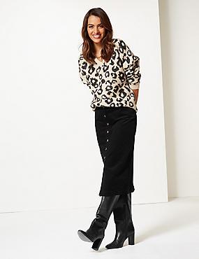 Cotton Rich Textured Pencil Midi Skirt , BLACK, catlanding