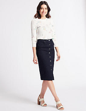 Pinspot Denim Skirt , INDIGO, catlanding