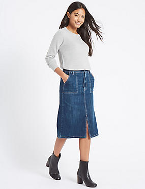 Denim Patch Pocket A-Line Midi Skirt