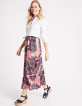 Pure Linen Printed Maxi Skirt, PINK MIX, catlanding