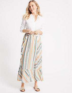 Pure Linen Striped Cut About Full Maxi Skirt