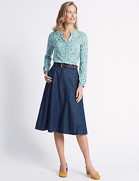 Panelled Denim Midi Skirt, INDIGO, catlanding