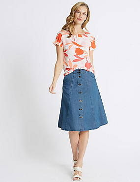 Pure Cotton Denim Midi Skirt , LIGHT INDIGO, catlanding