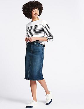 Denim Midi Skirt, DARK INDIGO, catlanding