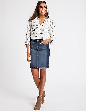 Contrast Denim Mini Skirt, INDIGO MIX, catlanding