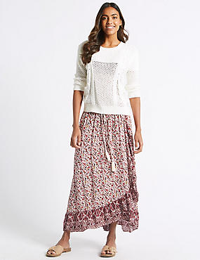 Floral Print Full Maxi Skirt , RED MIX, catlanding