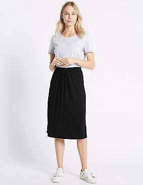Curved Hem Pleated Midi Skirt