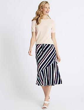 Striped Midi Skirt , IVORY MIX, catlanding