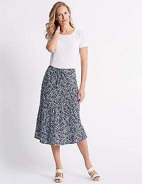 Printed Full Maxi Skirt , NAVY MIX, catlanding