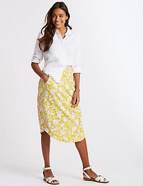 Floral Print Jersey A-Line Midi Skirt