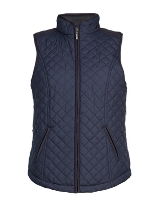 Metallic Effect Quilted Gilet Clothing