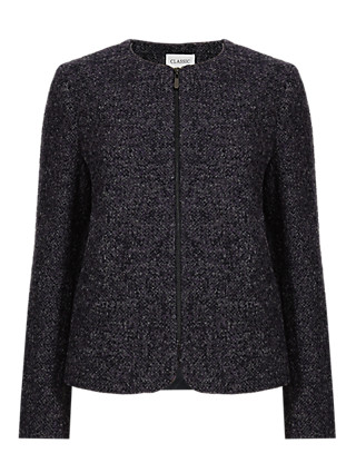 Zipped Bouclé Jacket with Wool Clothing