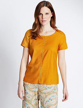 Linen Blend Lace Panel Shell Top